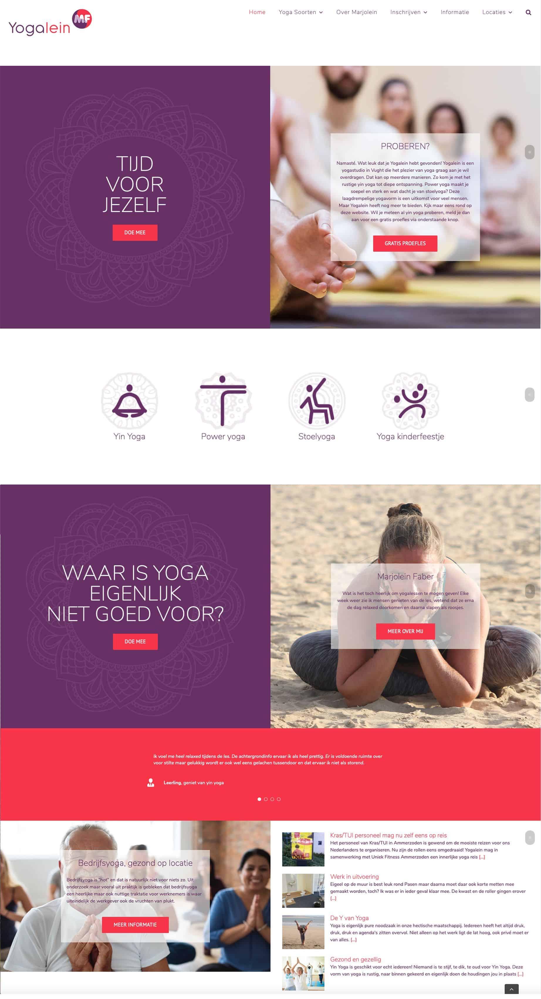 Yogalein website door Kneh